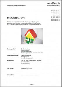 Auszug Muster-Energieberatungsbericht