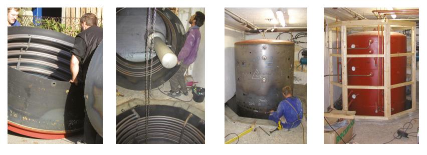 Kellerschweißung eines 4,5 m³ Stahlspeichers - Bild: Sonnenhaus-Institut e.V.